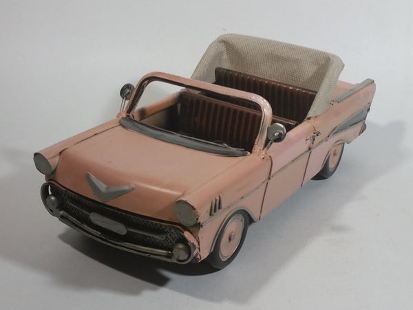 "Chevy Bel Air Convertible Pressed Steel Light Salmon Pink Hand Painted Decorative Classic Car Model 11 1/2"" Long"