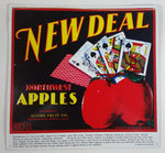 "Northwest Apples New Deal Tin Metal Sign Adams Fruit Co. Wenatchee Washington USA 12 3/4"" x 13 1/4"""
