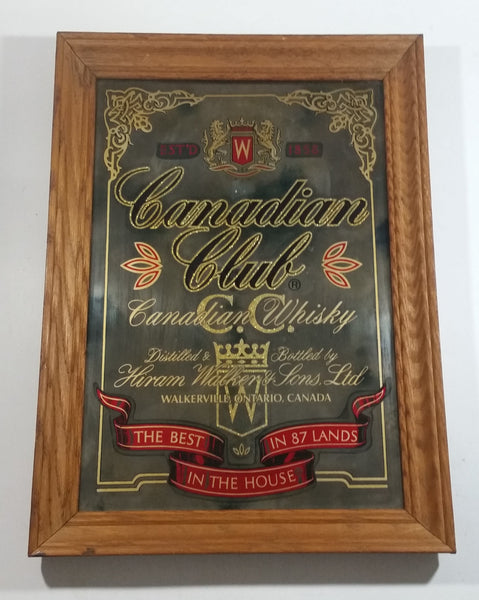 "Canadian Club Whisky Hiram Walker & Sons Ltd Wakerville Ontario, Canada Wood Framed Advertising Mirror 13"" x 18"""