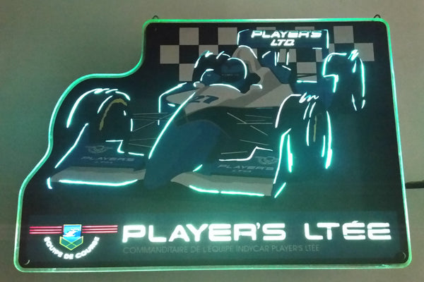"Rare 1980s Player's Light Cigarettes #27 Indy Car Grand Prix Racing Light Up Electrical Plug In Sign 11"" x 16"""