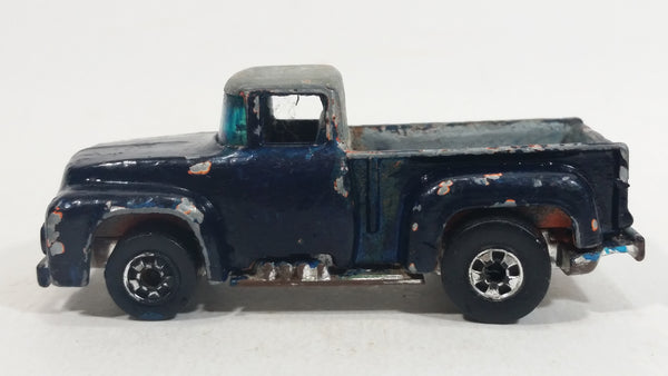 1977 Hot Wheels Flying Colors '56 Hi-Tail Hauler Orange (Painted Dark Blue Black) Ford Pickup Truck Die Cast Toy Car Vehicle BW Hong Kong