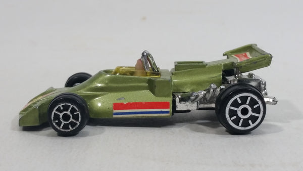 "Rare HTF Vintage TinToys McLaren M19 Olive Green ""14"" W.T. 714 Firestone Die Cast Toy Race Car Vehicle - Hong Kong"