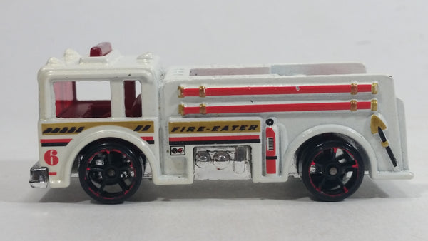 2011 Hot Wheels Thrill Racers Raceway Fire Eater White Firefighting Truck Die Cast Toy Car Rescue Emergency Vehicle