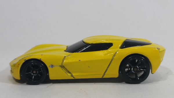 2010 Hot Wheels 2009 Corvette StingRay Concept Yellow Die Cast Toy Car Vehicle
