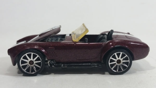 2010 Hot Wheels Hot Auctions Classic Cobra Convertible Maroon Die Cast Toy Car Vehicle w/ Opening Hood