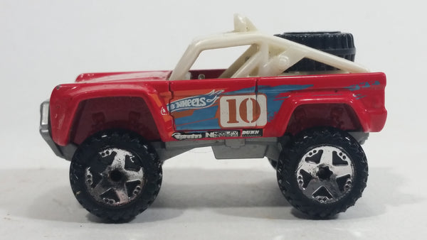 2010 Hot Wheels HW Racing Custom Ford Bronco #10 Red Die Cast Toy Car Offroading Vehicle