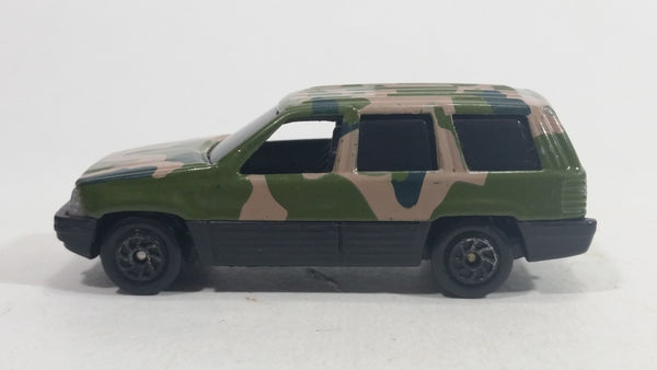 HTF Yatming Jeep Grand Cherokee No. 827 Green Brown Camouflage Die Cast Toy Military Army Car Vehicle