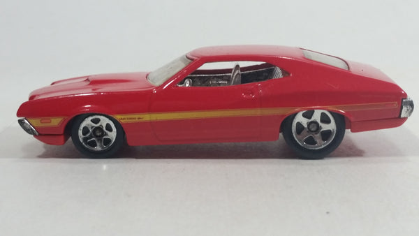 2011 Hot Wheels '72 Ford Gran Torino Sport Red Die Cast Toy Muscle Car Vehicle