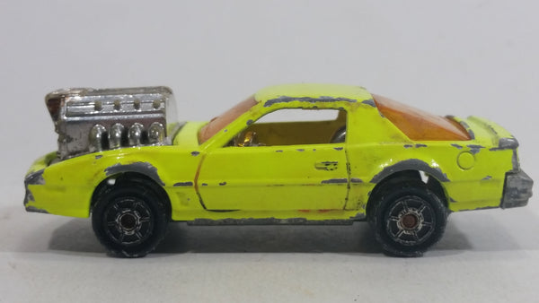 Vintage Majorette Pontiac Firebird Trans Am Fluorescent Yellow Die Cast Toy Car Vehicle with Blown Motor