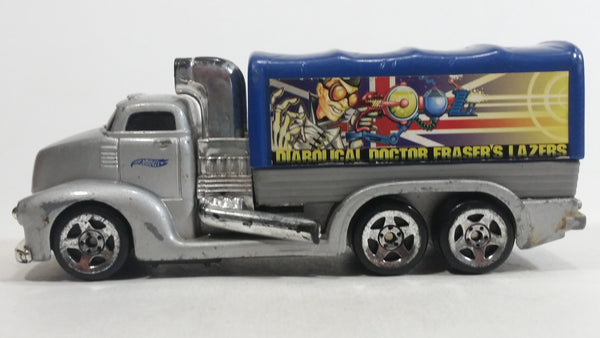 2002 Hot Wheels Haulers Diabolical Doctor Fraser's Lazers Cargo Truck Silver Grey and Blue Die Cast Toy Car Vehicle
