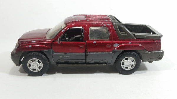2001 New Ray 2002 Chevrolet Avalanche Truck Dark Red and Grey Die Cast Toy Car Vehicle with Opening Doors