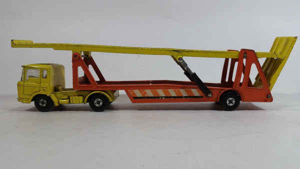 Vintage 1970 1971 Lesney Matchbox Super Kings K-11 DAF Car Transporter Semi Tractor Truck and Trailer Yellow and Orange Die Cast Toy Auto Hauler Vehicle