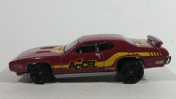2014 Hot Wheels HW Workshop Performance '71 Plymouth Road Runner Dark Red Die Cast Toy Muscle Car Vehicle