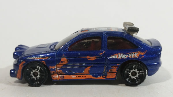 2011 Hot Wheels Wall Tracks Ford Escort Rally #71 Metallic Blue Die Cast Toy Car Vehicle