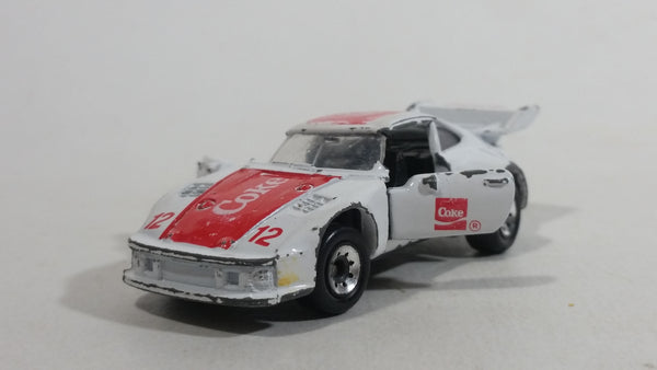 1988 Hartoy Coca Cola Coke Soda Pop Porsche 935 White Red #12 Die Cast Toy Car Vehicle with Opening Doors