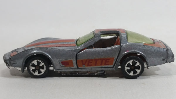 Vintage 1981 Kidco Chevrolet Corvette Turbo Silver Grey Die Cast Toy Car Vehicle with Opening Doors
