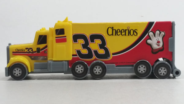 2010 RCR General Mills Cheerios Breakfast Cereal Food Plastic Semi Tractor Truck and Paper Trailer Promotional #33 Yellow Toy Car Vehicle Rig with Opening Rear Doors and Non Moving Wheels