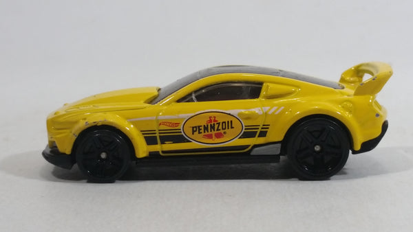 2016 Hot Wheels HW Speed Graphics Custom '15 Ford Mustang Pennzoil Yellow Die Cast Toy Car Vehicle