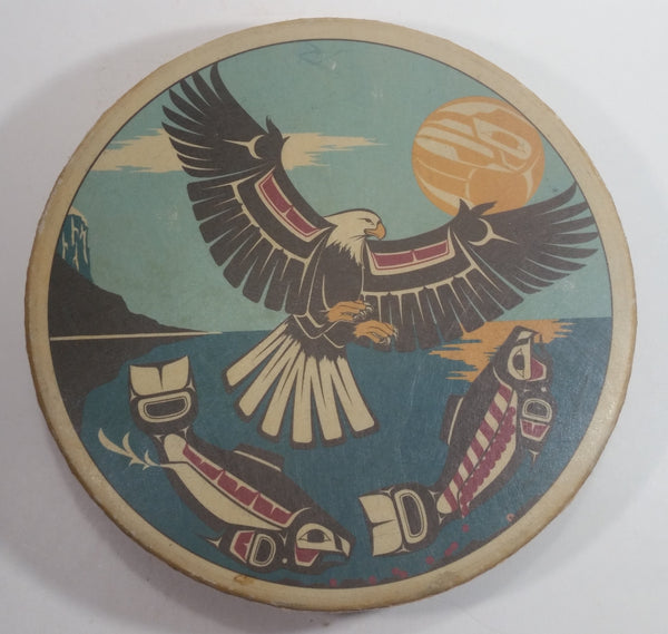 Clarence A. Wells Port Simpson, B.C. Aboriginal Art Eagle and Salmon Deer Hide Rimmed Drum Print
