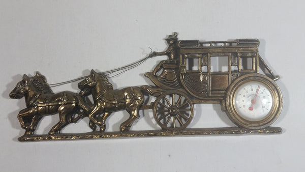 Vintage Horse Drawn Stage Coach Carriage Wagon Thermometer Wall Decoration
