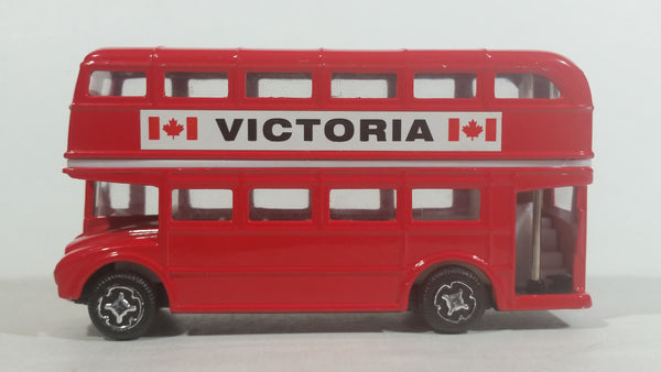 Free Wheel Victoria, BC Canada Double Decker Bus Red Die Cast Toy Car Vehicle