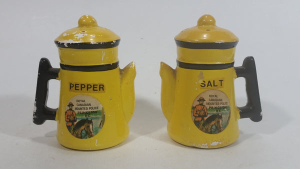 Vintage RCMP Royal Canadian Mounted Police Hand Painted Ceramic Kettle Shaped Salt and Pepper Shakers Princeton, B.C. Travel Collectible