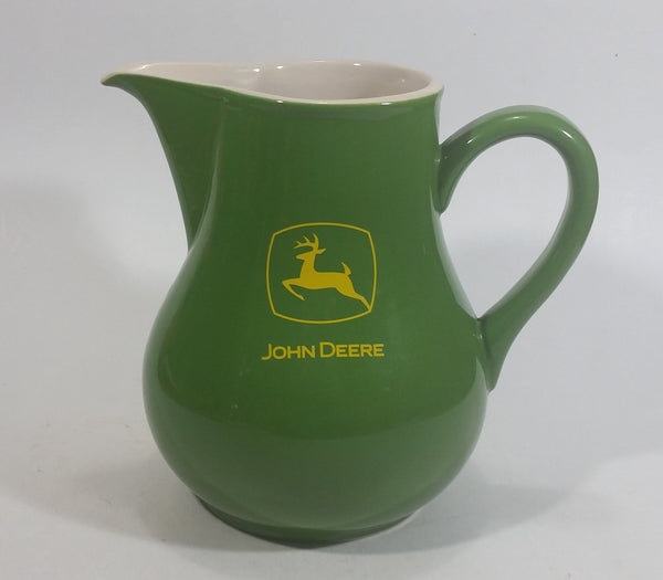 "John Deere 6 3/4"" Tall Green Stoneware Water Pitcher Farming Collectible"