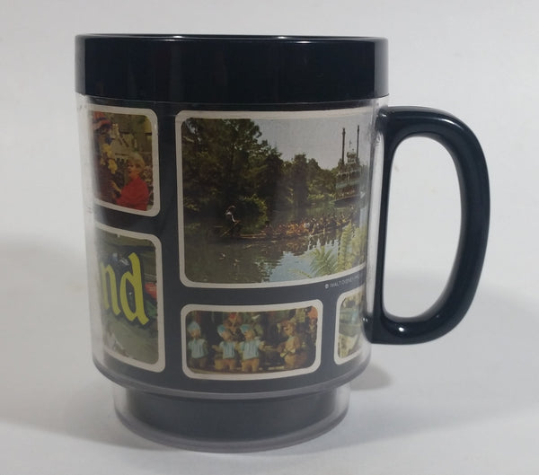 Thermo Serv Walt Disney Productions Disneyland Black Insulated Plastic Coffee Mug Collectible