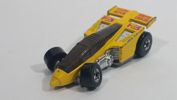 1988 Hot Wheels Speed Fleet Shadow Jet F-3 Inter Cooled Yellow Die Cast Toy Race Car Vehicle