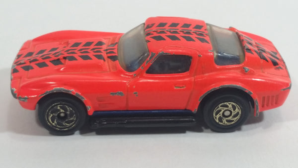 1994 Matchbox Corvette Grand Sport Neon Orange Black Tire Tracks Die Cast Toy Car Vehicle