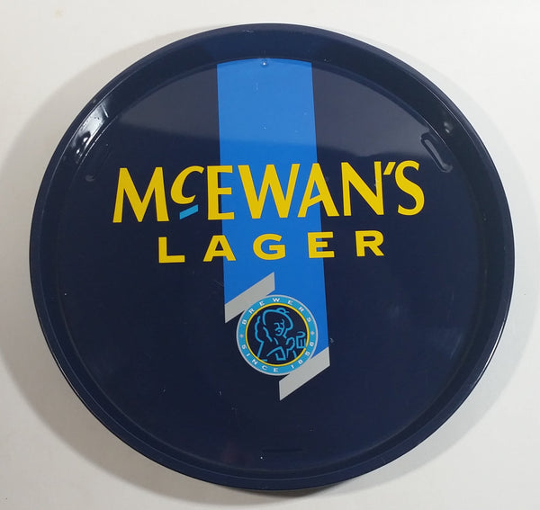 McEwan's Lager Beer Dark Blue and Light Blue Round Circular Metal Beverage Serving Tray