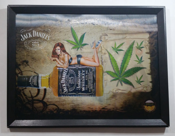 "Jack Daniel's Old No. 7 Brand Tennessee Whiskey Woman in Bikini Billiards Pool Marijuana Weed 3D Hologram 12 1/2"" x 16"" Framed Sign"