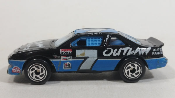 1995 Matchbox Pontiac Grand Prix Stock Car #7 Outlaw Auto Parts Black Blue Die Cast Toy Race Car Vehicle