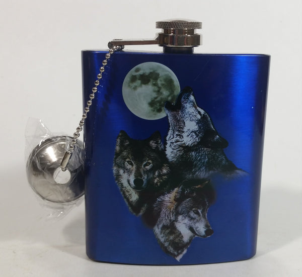 Spoontiques Beautiful 3 Wolves Howling at Full Moon Metallic Blue Stainless Steel Pocket Flask