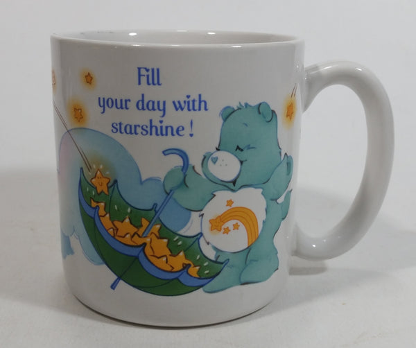 "1985 American Greetings Care Bears ""Fill your day with starshine!"" White Stoneware Coffee Mug Collectible"