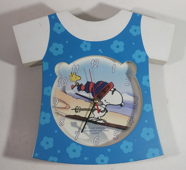 Extremely Rare and Unique Peanuts Snoopy Woodstock Downhill Skiing Blue Dress Shaped Musical Clock