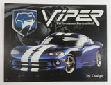 "2000 Daimler Chrysler Dodge Viper Performance Personified Tin Metal Sign 12 3/8"" x 16 3/8"""