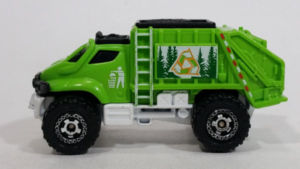 2012 Matchbox City Garbage Grinder Truck Lime Green Die Cast Toy Car Vehicle
