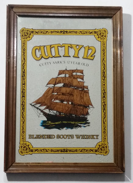 "Vintage Cutty 12 Cutty Sark's 12 Year Old Blended Scots Whisky Wood Framed Pub Lounge Bar Advertising Mirror 9"" x 13"""