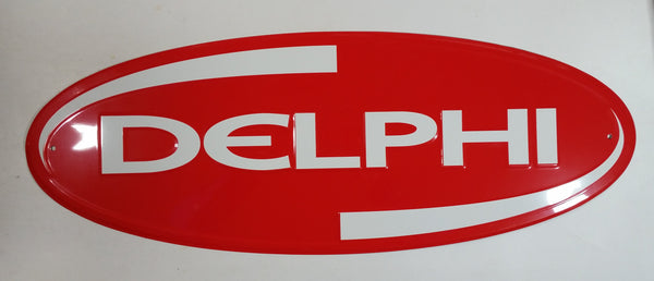 "Delphi Technology Automotive Parts Embossed Oval Shaped Red Tin Metal Sign 24"" x 9"" GM Racing"