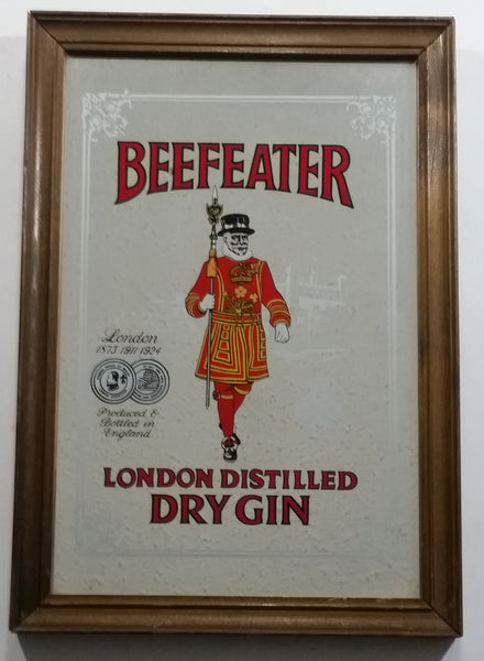 "Vintage Beefeater London Distilled Dry Gin Wood Framed Pub Lounge Bar Advertising Mirror 9"" x 13"""
