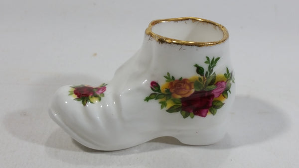 Vintage 1960s Royal Albert Old Country Roses Shoe Boot Shaped Bone China Toothpick Holder