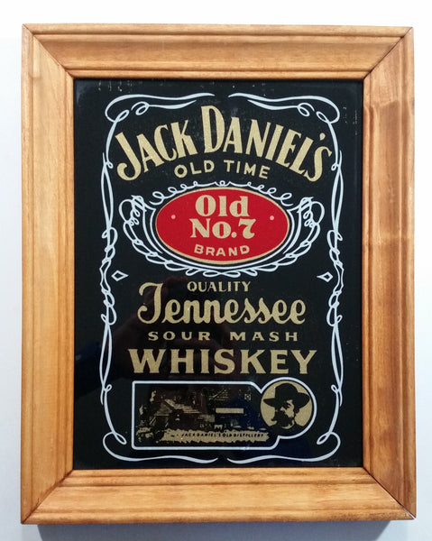 "Vintage Jack Daniel's Old Time Old No. 7 Brand Quality Tennessee Sour Mash Whisky Wood Framed Pub Lounge Bar Advertising Mirror 11"" x 14"""