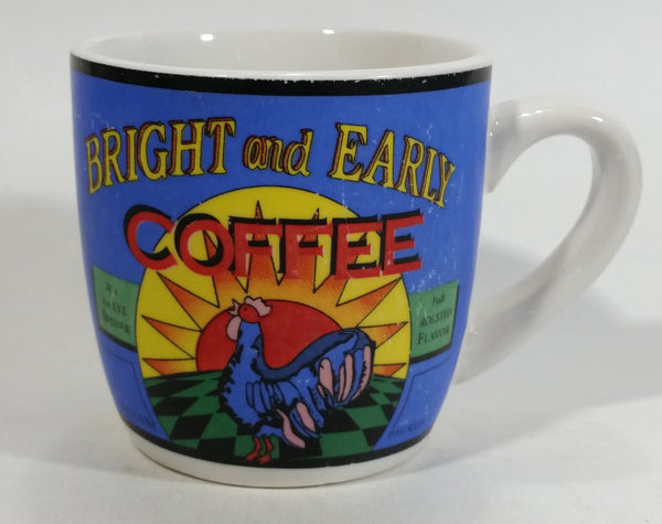 Bright And Early Coffee Blue and White Ceramic Coffee Mug Cup