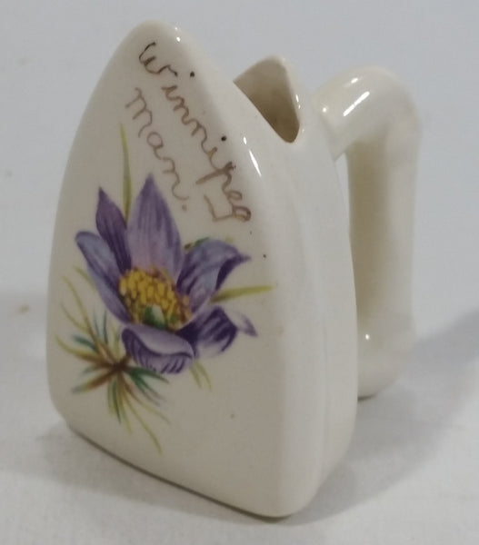 Winnipeg, Manitoba Ceramic Iron Shaped Purple Floral Decor Toothpick Holder Souvenir Travel Collectible