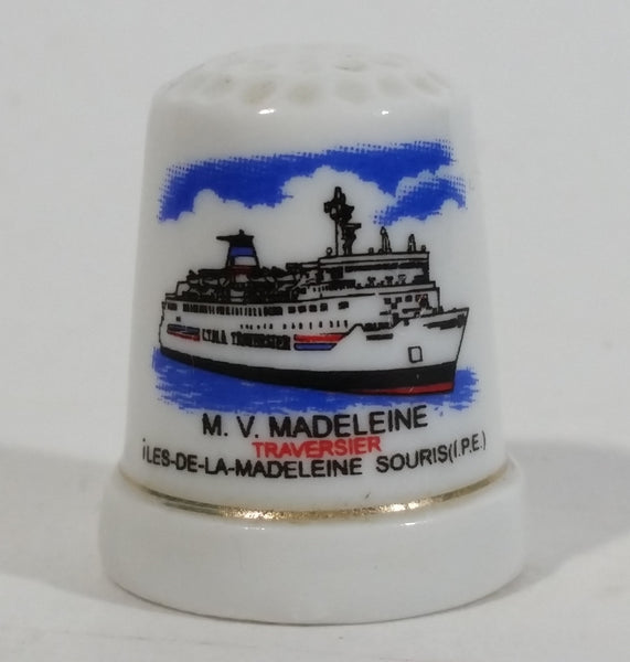 M.V. Madeleine Ship Boat Porcelain Gold Trimmed White Thimble Souvenir Travel Collectible