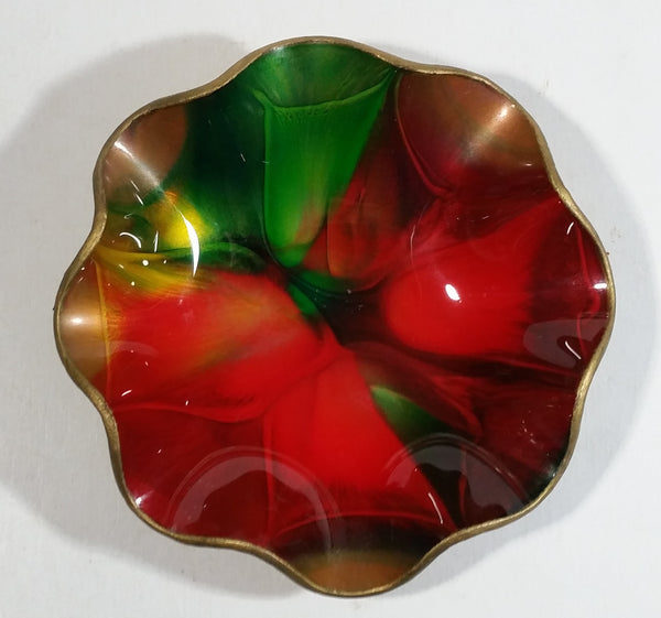 Vintage Seetusee Glassware by Mayfair Scalloped Edge Leather Backed Red Green Gold Art Glass Dish