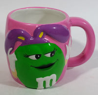 2003 Effem The Jelly Bean Factory M & M's Chocolate Candy Coated Snacks Hand Painted Pink Ceramic Coffee Mug with Green Character