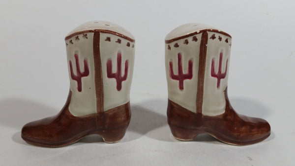 Vintage Cowboy Boot Shaped Ceramic Salt and Pepper Shakers