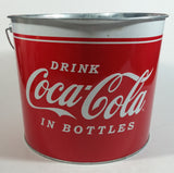 "2009 Drink Coca-Cola In Bottles 7"" Tall Red White Metal Pail with Wooden Handle Coke Cola Soda Pop Collectible"